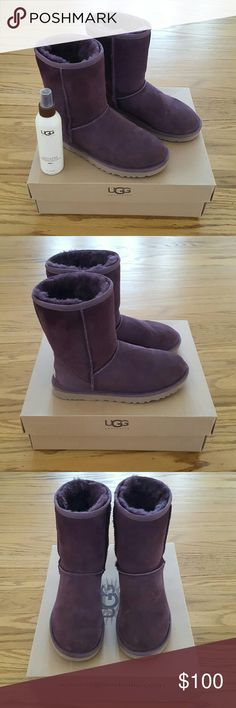"Classic UGG Australia Boots These were only worn a few times (in dry weather) and treated with ugg water and stain repellent. They are still in ""as good as new"" condition. 6oz. bottle of spray is included. 100% authentic. 💜 UGG Shoes Winter & Rain Boots"