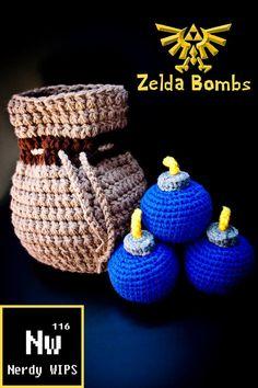 Zelda Bombs - Bomb Bag crochet - Legend of Zelda