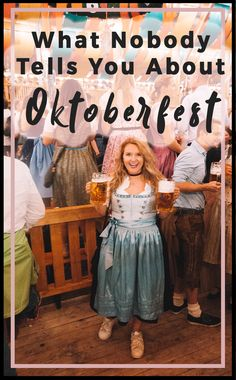 What Nobody Tells You About Oktoberfest Every year million people travel by plane, train, bus, and car to Munich, Germany to celebrate the largest beer festival in the world: Oktoberfest. Sporting leather Lederhosen and Dirndls in every color of the Oktoberfest Outfit, Oktoberfest Hairstyle, Munich Oktoberfest, Oktoberfest Party Costume, By Plane, Festivals Around The World, Munich Germany, Bavaria Germany, Beer Festival