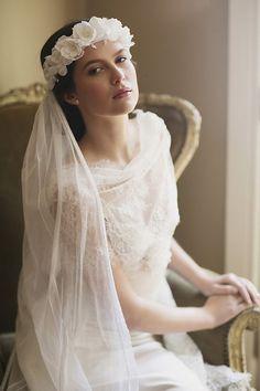 Love You Bride Orange Blossom Crown Veil