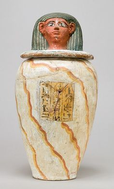 Canopic jar of Teti Period: New Kingdom Dynasty: Dynasty 18 Date: ca. 1479–1390 BC Geography: From Egypt Medium: Pottery, paint