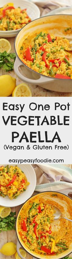 In need of easy, healthy, vegetarian comfort food? Then my Easy One Pot Vegetable Paella could be the answer! Packed full of veggies and spices, this flavourful one pot meal is quick and easy to make and a great way to remind you of summer when the weather outside is anything but! #easydinners #onepot #paella #vegetarian #vegan #glutenfree #dairyfree #comfortfood #easypeasyfoodie