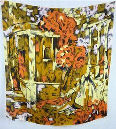 """Foulard en soie, motif """"Roméo et Juliette"""", style peinture de Vallauris de la boutique TheNuLIFEshop sur Etsy"""