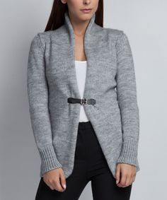 Another great find on #zulily! MKM Gray Buckle Cardigan by MKM #zulilyfinds