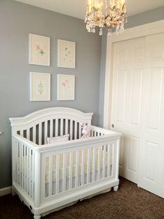 White Crib and Dark Carpet