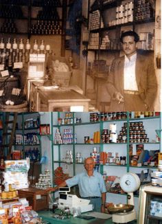 on the upper side of the photograph appears an old grocery store in 1950 and on the bottom side is the same grocery store renovated during the 90 decate Old Photos, Vintage Photos, Kai, Baghdad, Athens Greece, Crete, Chic Wedding, The Past, Old Things