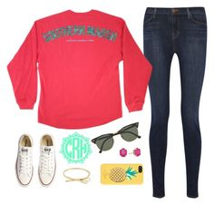 """""""Getting Cooler Already"""" by southerntides ❤ liked on Polyvore featuring Converse, Kate Spade, Ray-Ban, Kendra Scott, J Brand, preppy and converse"""