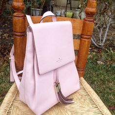 ✨HP ✨ NEW Kate Spade backpack Host pick for wardrobe goals on 3/6/16 ! :) Lovely backpack ! Light pink leather. Brand new with tags. AUTHENTIC. Can send with Kate spade gift bag as well , if requested.  ✨✨✨✨✨✨✨✨✨✨✨✨✨I do not trade. I just graduated from college 6months ago and have loans to pay off. I use poshmark as a way to earn a little extra money. Thank you for understanding and visiting my closet. :) kate spade Bags Backpacks