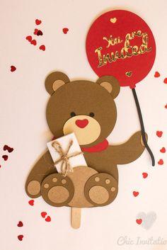 Juegos Baby Shower Niño, Teddy Bear Birthday, Homemade Birthday Cards, Handmade Invitations, Baby Cards, Baby Shower Parties, Baby Gifts, Balloons, Crafts For Kids