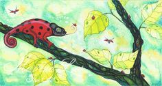 Ladybug Chamaeleon Fantasy Watercolor Painting by Martina Loos