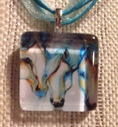 Horses White Horse Abstract Glass Tile Pendant Ribbon Necklace *Horse Lovers*
