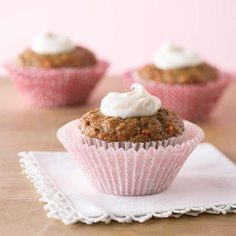 These Carrot Cake Cupcakes get their flavor from shredded carrots, applesauce, and a hint of cinnamon. More spring cake recipes: http://www.bhg.com/recipes/desserts/cakes/spring-cakes-and-cupcakes/?socsrc=bhgpin040813carrotcupcakes=16