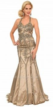 Embellished Halter Illusion Back Evening Dresses by Atria-image