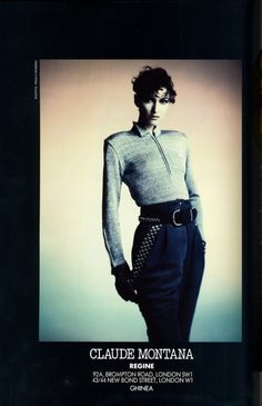 Claude Montana ad, by Paolo Roversi. Scanned from Vogue UK March 1986