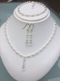 Crystal illusion bridal jewelry set clear or Ab Swarovski crystal