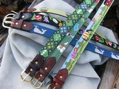 Send us your needlepoint and we'll make it into a belt using your choice of 5 English Bridle Leather colors and brass or stainless buckles. Needlepoint Belts, Needlepoint Designs, Diy Jewelry Holder, Diy Jewelry Making, Cross Stitch Needles, Leather Keychain, Leather Working, Leather Craft, Cross Stitching