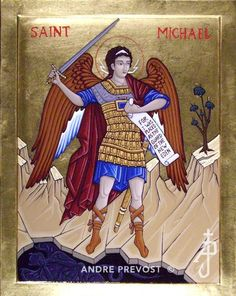 Icon of St. Michael, commissioned by a client in Calgary AB. A portfolio of icons by Andre Prevost located in the Calgary area