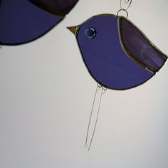 Purple Stained Glass Bird Ornament with by willowstainedglass, $22.00