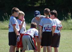 Kids flag football is a great way to learn football with a decreased risk of injury. Youth Flag Football, Football Team, Kids Playing, Coaching, Sports, Training, Hs Sports, Football Squads, Children Play