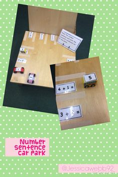 Read the number sentence and park the correctly numbered car in the space. Maths Eyfs, Numeracy Activities, Eyfs Classroom, Classroom Activities, Year 1 Maths, Early Years Maths, Math For Kids, Fun Math, Maths Display