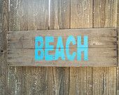 Rustic BEACH Sign on Reclaimed Barn Wood summer