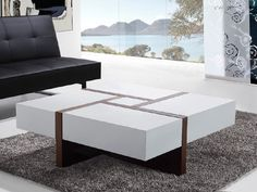 Modern Coffee Table with 4 Drawers. EVORA from Beliani.com. We love this with a modern leather settee sofa or leather sectional sofa.