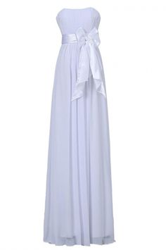 Sweet Strapless Floor Length Chiffon White Bridesmaid Dress with Sash New Party Dress, Formal Evening Dresses, Wedding Party Dresses, Sexy Dresses, Prom Dresses, Bridesmaid Dresses Online, Tea Length Dresses, Ball Gowns, Evening Party