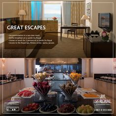 Great Escapes at Le Royal Hotels and Resorts - Beirut!  - Accommodation in a sea view room. - Buffet breakfast at Le Jardin Du Royal - Dinner or lunch for 2 persons at Le Jardin Du Royal - Access to the Royal Spa, fitness center, sauna, Jacuzzi.  Promotion is upon availability, ending December 30, 2016  Reservation-bey@leroyal.com 00961 4 555 999