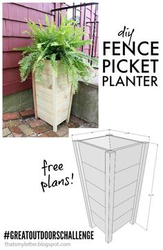 A DIY. A DIY tutorial to build a tall planter using inexpensive fence pickets. Make a tall tapered planter for your outdoor space with these free plans. Tall Planter Boxes, Diy Wood Planters, Diy Planter Box, Tall Planters, Diy Planters Outdoor, Front Door Planters, Flower Planters, Outdoor Projects, Wood Projects