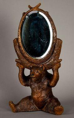 wonderful carved wood bear holding a mirror, swiss 1900