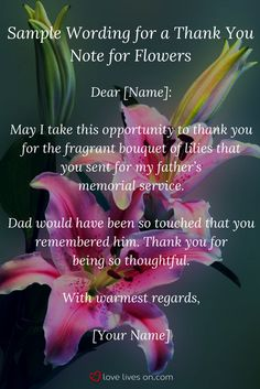 Make writing easy by using the Best Wording Samples for funeral thank you cards and notes. Sympathy Card Sayings, Sympathy Messages, Thank You Messages, Sample Thank You Notes, Funeral Thank You Notes, Funeral Messages, Dad Funeral Flowers, Message For Dad, Funeral Planning