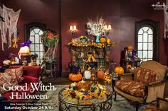 Hallmark Channel on Grey House is ready for you! Halloween starts right now! The Good Witch Series, Witch Tv Series, Good Witch Halloween, Fall Halloween, Halloween Ideas, Hallmark Good Witch, Witch Decor, Witch Craft, Grey Houses