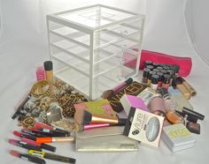 Where do you keep your makeup collection? Makeup Storage, Makeup Organization, Makeup Collection, Makeup Yourself, Pretty In Pink, Drawers, Purple, Candy, Storage Ideas
