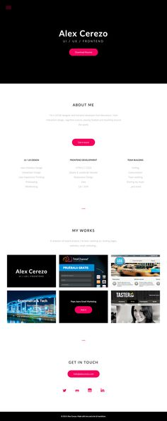 Simple and clean one page portfolio for Alex Cerezo - a UI/UX designer and front-end developer from Barcelona, Spain.