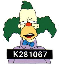 Krusty The Clown mugshot The Simpsons Show, Simpsons Art, Krusty Der Clown, Homer Simpson Beer, Bart Simpson, Yellow Guy, Es Der Clown, Donk Cars, Simpsons Characters