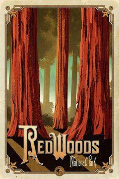 Redwoods National Park, CA National Park Posters, National Parks, Party Vintage, Vintage Cars, Voyage Usa, Park Art, Parc National, Parcs, Vintage Travel Posters