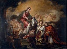 """""""Imposición de la casulla a san Ildefonso"""" Juan de Valdés Leal Sevilla, 1622-1690 Hacia 1661 60,5 x 81 cm Óleo sobre lienzo Museu Nacional d'Art de Catalunya"""