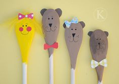 3 Bears wooden spoon puppets - For storytelling? Preschool Literacy, Literacy Activities, Activities For Kids, Kids Crafts, Traditional Tales, Goldilocks And The Three Bears, 3 Bears, Bear Theme, Nursery Rhymes