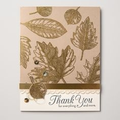 We are so in love with the new Vintage Leaves stamp set that can be used all year long and for just about any occasion. Make sure you check out the coordinating framelits too!