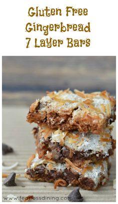 Gluten Free Gingerbread 7 Layer Bars http://fearlessdining.com