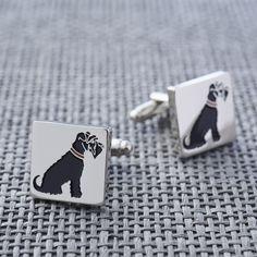 Black Schnauzer cufflinks at www.twowoofs.co.uk £25