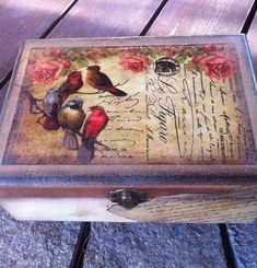 Yellow Tea Bags Holder. Decoupage Tea Box. Tea Box four compartments. Decorative Box with Birds. Tea bags Organizer. Vintage boxes for Tea
