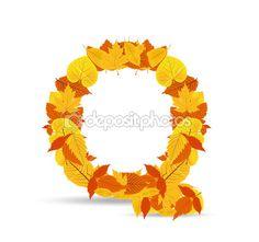 Hojas de otoño vector fuente. Letra Q — Vector de stock #41969937