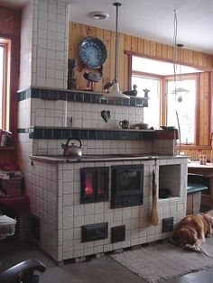 brick cook stove | ... and firebox door; tile veneer. Note the marble border on stove top