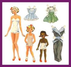 Marie Paper Dolls are thought to be designed by Ellis Marie Paper Dolls from 1946, first dresses were red-checked. Dresses were in Marie Biscuits packages