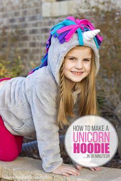 Make a UNICORN HOODIE...in 30 minutes! | via www.makeit-loveit.com