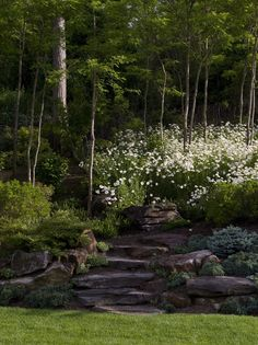 Rock Garden on a hill with flowers... One day ours will look like this!