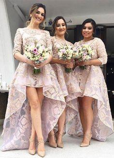 Elegant Hi-Lo Long Bridesmaid Dresses Applique Bridesmaid Dresses 8a0d72e0505f
