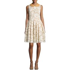 Michael Kors Collection Sleeveless Fit-&-Flare Lace Dress (€1.975) ❤ liked on Polyvore featuring dresses, natural, pleated dress, lace cocktail dress, michael kors dresses, sleeveless lace dress and white lace dress