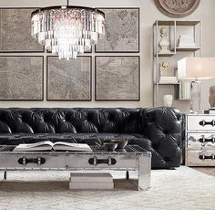 Image result for black tufted leather sofa on pinterest Small Room Design, Small Rooms, Small Bedrooms, Small Guest Rooms